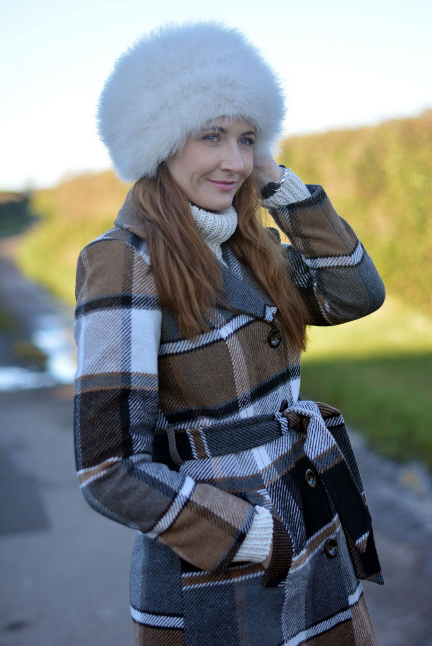 Winter Neutrals | Oversized Feather Cossack Hat and Check Coat