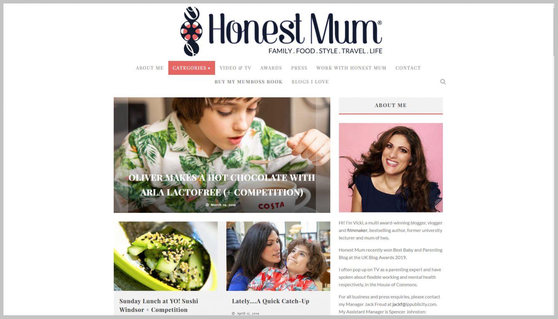 Honest Mum, UKBA19 Parent & Baby winner