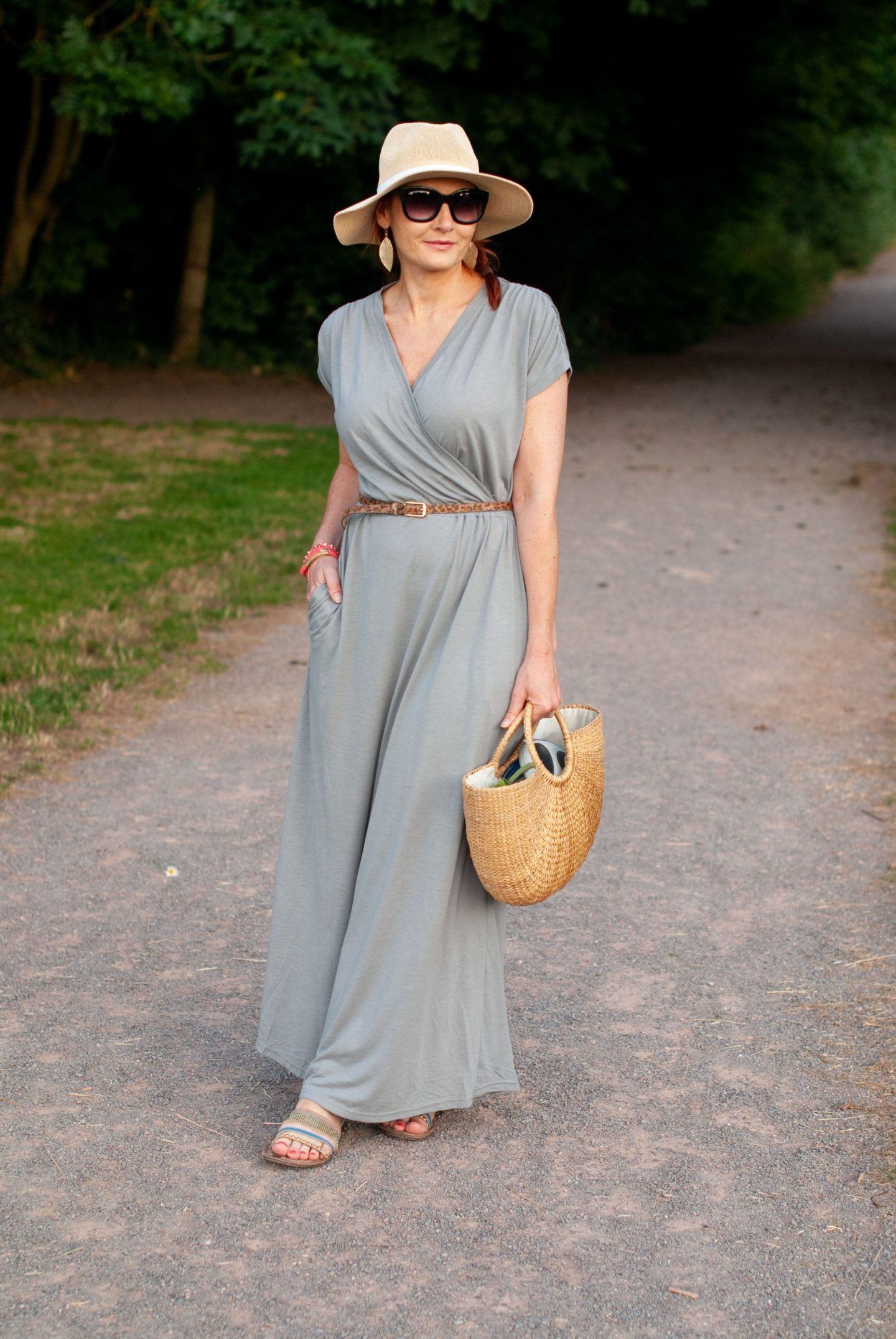 My All Time Favourite Summer Outfits: Grey wrapover maxi dress | Not Dressed As Lamb