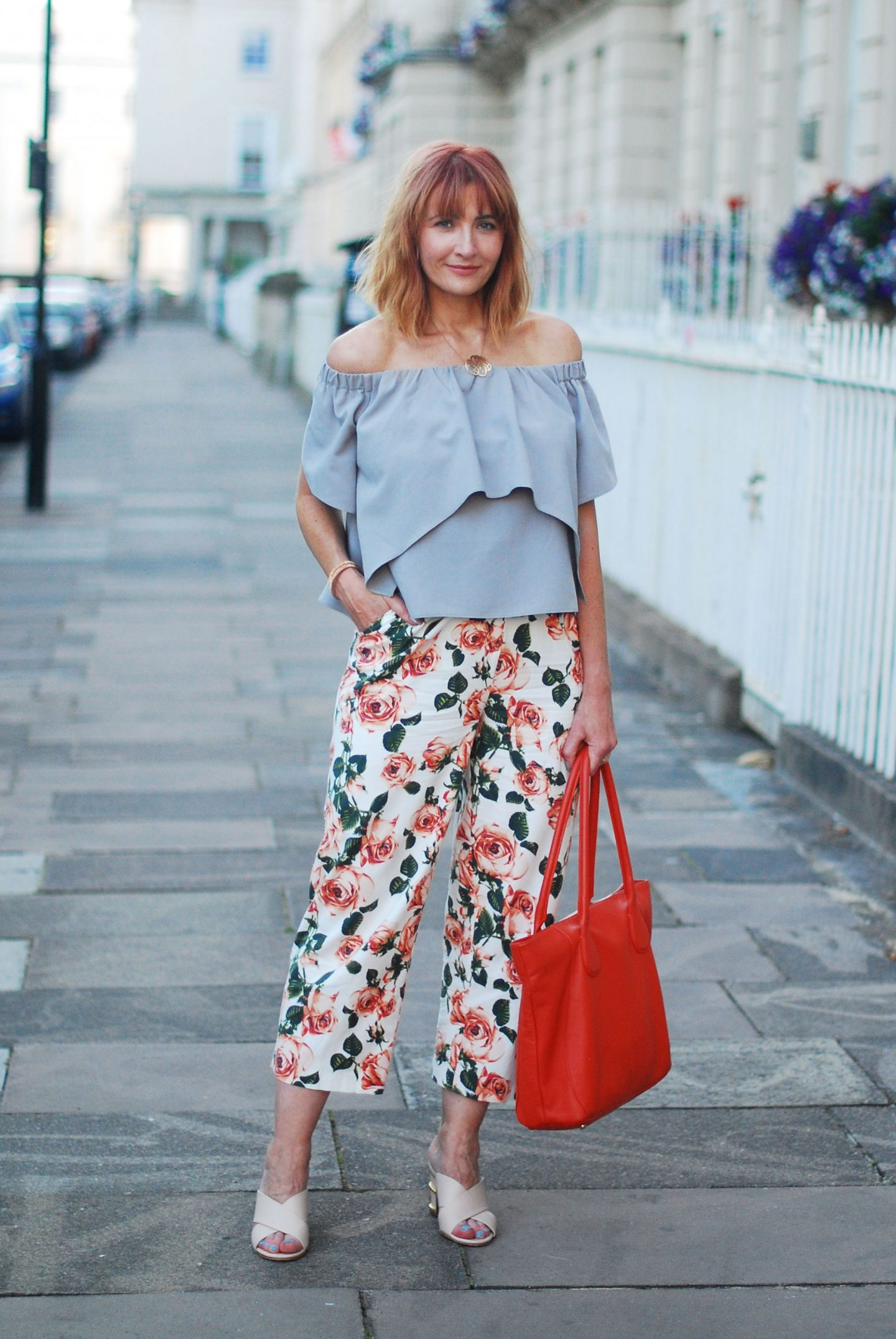 My All Time Favourite Summer Outfits: OTS grey top and floral trousers | Not Dressed As Lamb