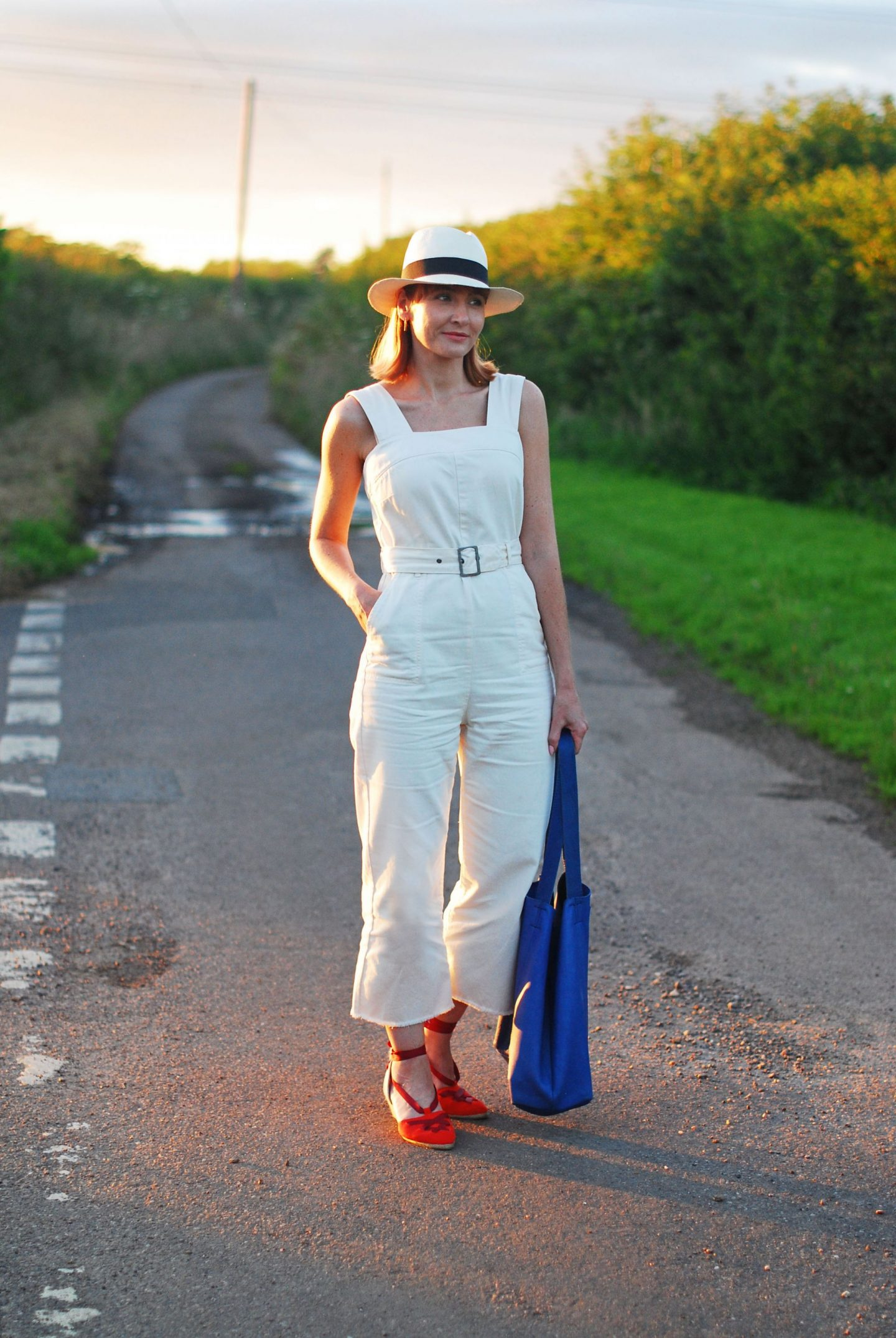 My All Time Favourite Summer Outfits: Cream dungarees and red espadrilles | Not Dressed As Lamb