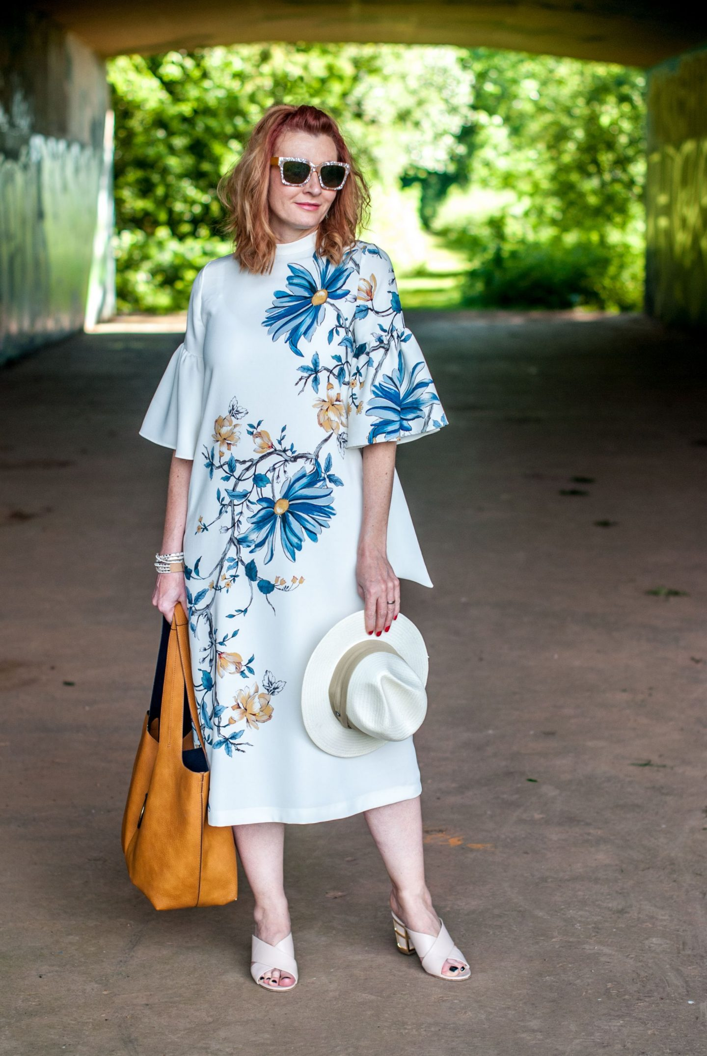 My All Time Favourite Summer Outfits: Deep V back midi dress with flared sleeves | Not Dressed As Lamb