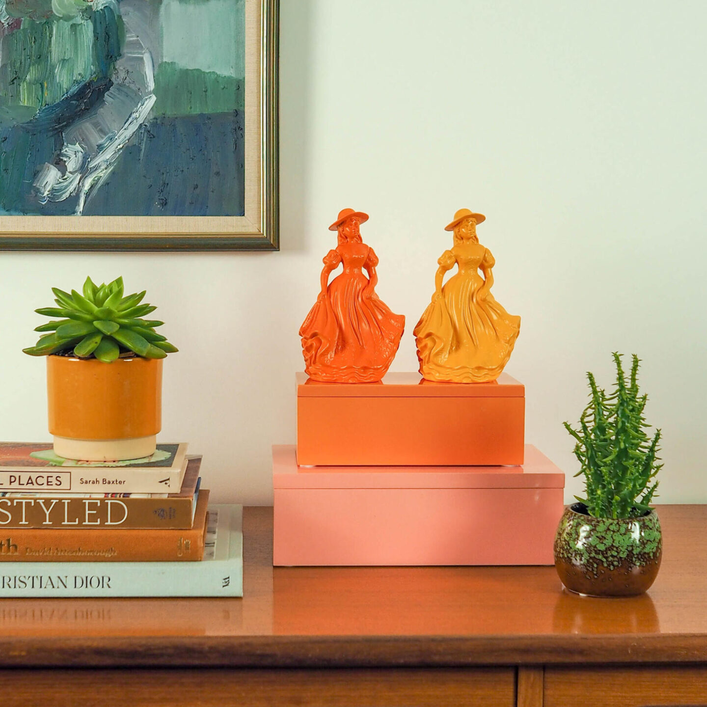 Not Lamb Home: Bold, kitsch upcycled homewares, vintage and decor | Orange and Yellow Ceramic Lady/Girl Figurines
