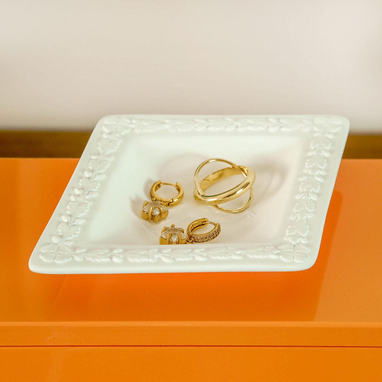 Not Lamb Home: Bold, kitsch upcycled homewares, vintage and decor   White Diamond-Shaped Wedgwood Jasperware Trinket Tray