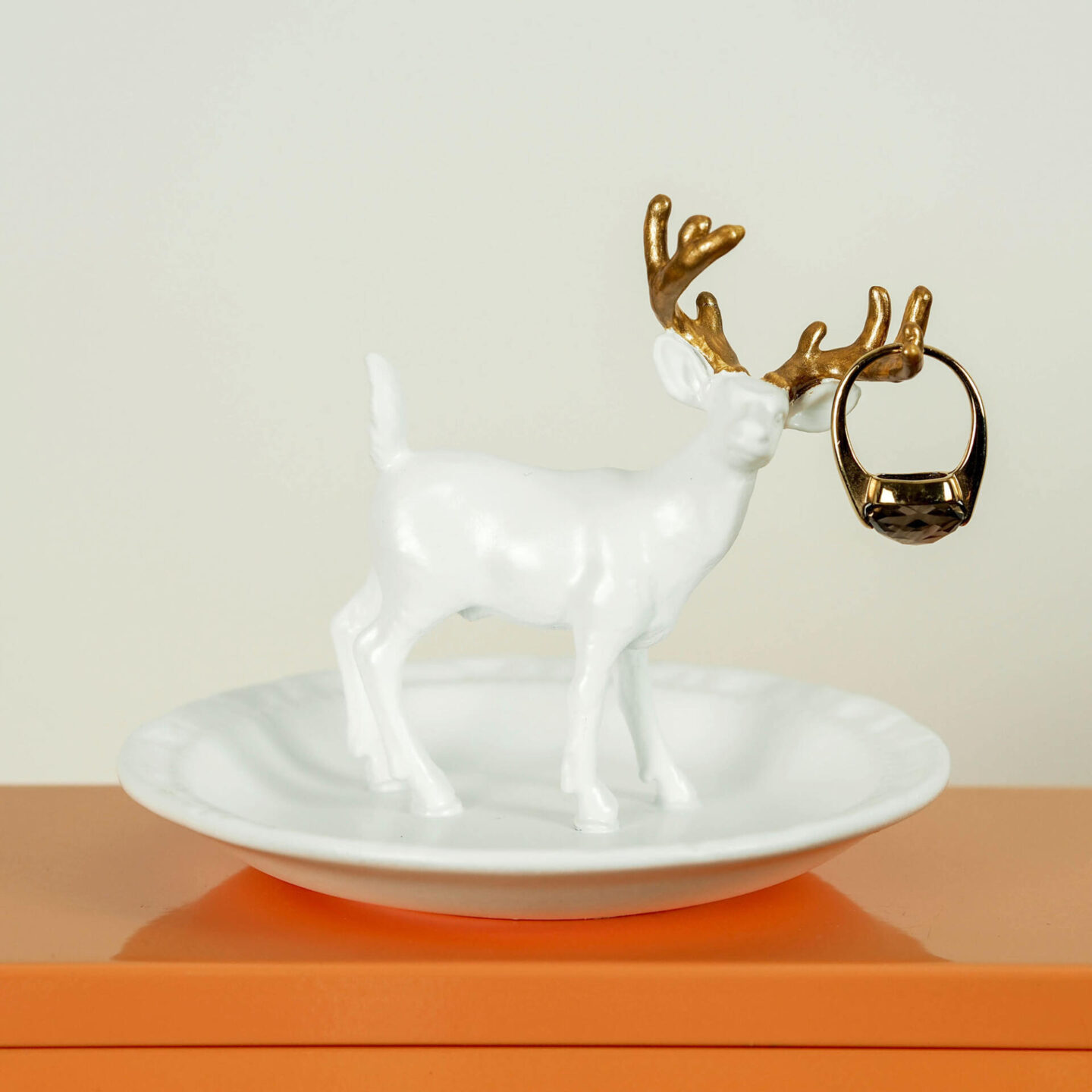 Not Lamb Home: Bold, kitsch upcycled homewares, vintage and decor | White and Handpainted Gold Ring Tray With Deer/Stag