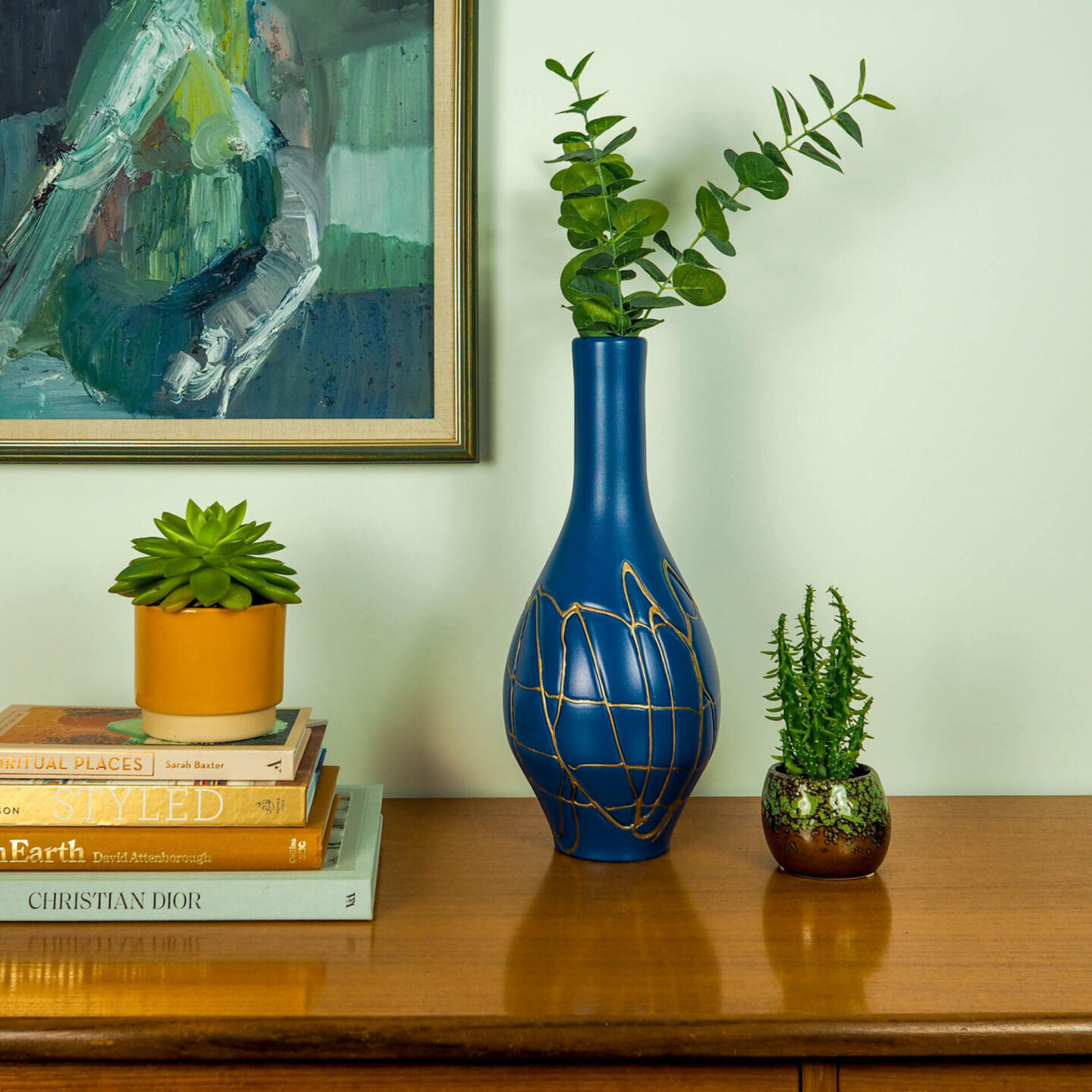 Not Lamb Home: Bold, kitsch upcycled homewares, vintage and decor | Deep Blue and Handpainted Gold Bud Vase